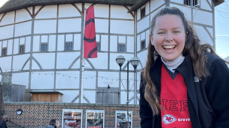 Students in the Dean College Pre-College Summer Program posing in front of the field at Gillette Stadium, home to the New England Patriots.